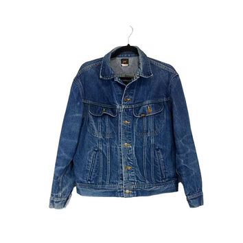 70s Lee Denim Jean Jacket Vintage Trucker Biker Worn Distressed  Grunge Clothing Button Front 40 Reg Patd 153438