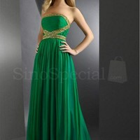 Hunter Green Amazing A-line Strapless Beaded Pleated Prom Dresses