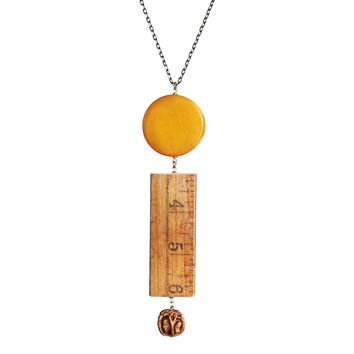 Bakelite yardstick carved-bead pendant necklace