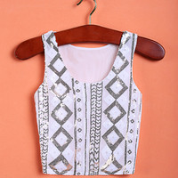 White Geometric Print Sleeve Crop Tank Tee