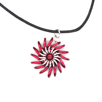 Whirlybird Pendant Red and Silver with Black Cord Necklace, Chainmail Style Whirligig