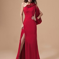 Best Price Free Shipping A-line One Shoulder Floor-length Chiffon Silk like Satin Evening Dress US$104.99