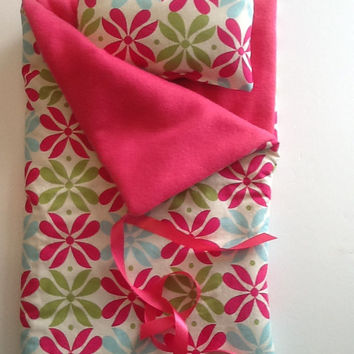 "Doll Sleeping Bag and pillow,  18"" dolls and others, pink green blue flowers, pink fleece lining, use for slumber party or camping bag"
