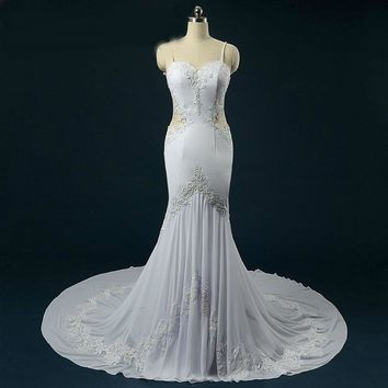 Backless Mermaid Wedding Dress Pearls Beading Applique Lace Wedding Dresses