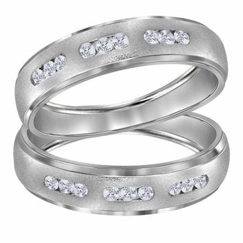 14kt White Gold His & Hers Round Diamond Matching Wedding Band Set 1-4 Cttw - FREE Shipping (US/CAN)