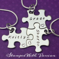 Best Friends, Sorority Sisters,  Besties puzzle piece necklace