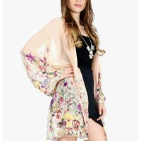 PEACH Flower Blossom Open Front Kimono | $11.50 | Cheap Trendy Cardigans Chic Discount Fashion for