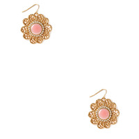 FOREVER 21 Lacey Flower Earrings Gold/Pink One