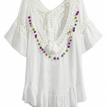 White Crochet Panel Double Plunge Colored Pom Pom Accent Dress