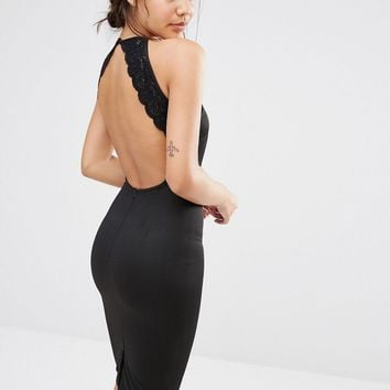 Missguided Lace Trim Open Back Bodycon Dress