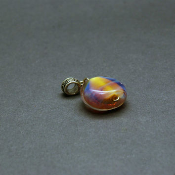 Handmade lampwork pendant, OOAK, small pillow shaped pendant, candy, pillow, yellow, pink, blue, silver glass, transparent