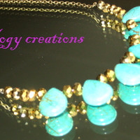 Turquoise green blue tear drop gold bead brass colour chain necklace chunky jewelry gift