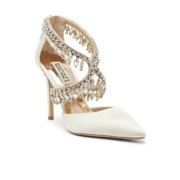 Badgley Mischka – Glamorous Crystal-Embellished Pointy Toe Pumps
