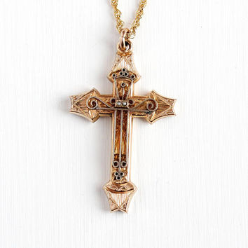 Antique Victorian Cross - Vintage Gold Filled Christian Crucifix Necklace - Catholic Religious Gothic Pearl Pendant Flower Leaf Jewelry