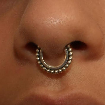 Septum sale Silver  Nose Ring flattened hoop 16 gauge 12mm handcrafted with a line of silver balls. modern piercing design, holiday sale