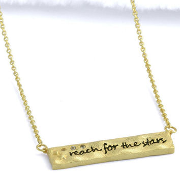 Inspirational Reach for the Stars Brass Necklace (Small Petite Minimalist Geometric Hammered Gold Plated Brass Jewelry, BN364-G)