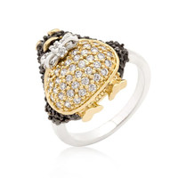 Jet Black Cubic Zirconia Penguin Ring, size : 10