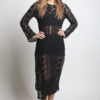 Umgee Long Sleeve Lace Shell Maxi