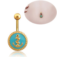 New Charming Dangle Crystal Navel Belly Ring Bling Barbell Button Ring Piercing Body Jewelry = 4804868868