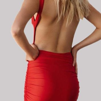 New Red Backless Round Neck Bodycon Clubwear Fashion Cute Party Mini Dress