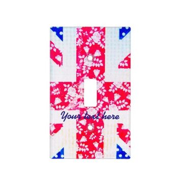 Vintage Retro Floral UK Flag Personalised Switch Plate Covers
