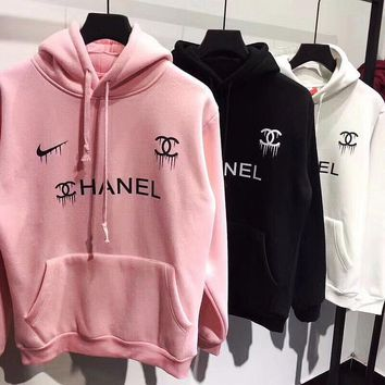 Nike swoosh x Chanel Print Hooded Pullover Tops Sweater Sweatshirts-1