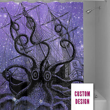 cute colorful octopus octopus and anchor deep sea octopus elephant ornate octopus wrecked ship galaxy nebula, custom shower curtain