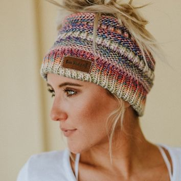 Messy Bun Knitted Beanie - Rainbow