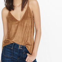 Faux Suede Bar Back V-neck Cami from EXPRESS
