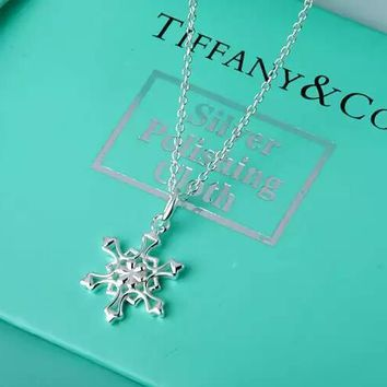 Tiffany & Co. sterling silver snowflake necklace