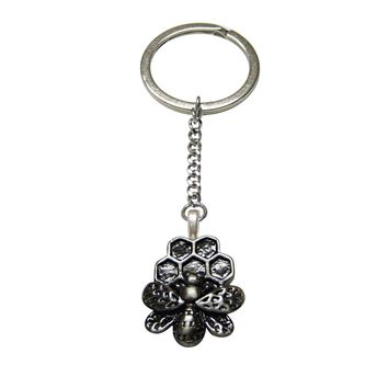 Bee and Bee Hive Pendant Keychain
