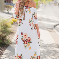 Sunday Best Off The Shoulder Cinched Waist Floral Maxi Dress (Ivory)