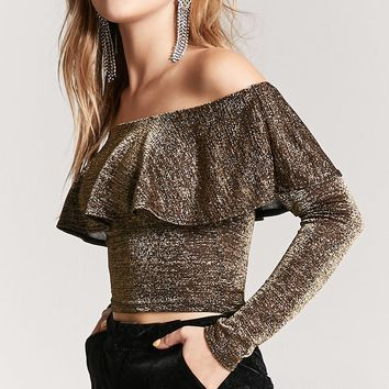 Metallic Off-the-Shoulder Flounce Top
