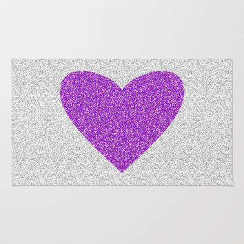 Purple Love Area & Throw Rug by M Studio