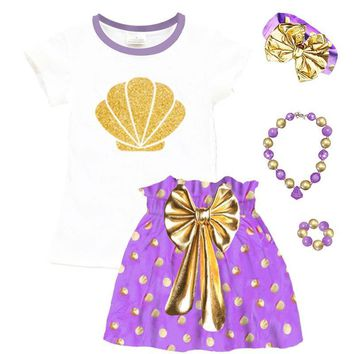 Gold Mermaid Shell Outfit Purple Polka Dot Top And Skirt
