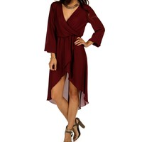 Burgundy Hi Lo Wrap Tunic