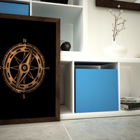 Bronze Compass - Direction - Nautical Art - 11x14 or 12x16 Wall Art -  A3 Bronze Foil Print