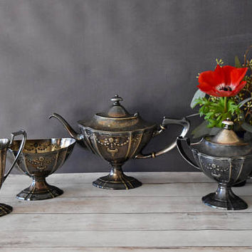 Meriden International Silver Co Tea Set/ Victorian Tea Set/ Antique Tea Set/ Tea Service/ Meriden Silver/ Gift for her/ Serving Set