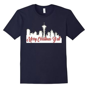 Merry Christmas Y'all Funny Shirt Seattle Holidays US Map