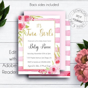 Gold Glitter It's Twin Girls Shower Invitation, Baby Shower Printable Invite, Baby Girls, Invitation Template, Gold Glitter Baby Invite