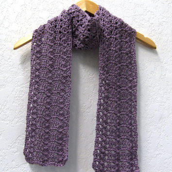 Crochet Lacy Scarf Lavender Cotton Eco Friendly