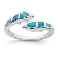 Sterling Silver Created Blue Opal Dolphins Ring