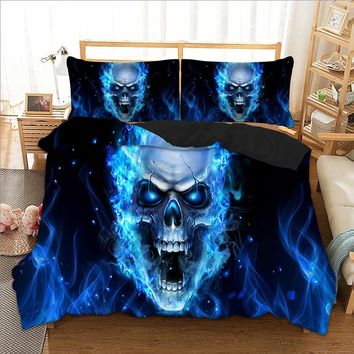 Wongs bedding 3d blue skull duvet cover Bedding set quilt Cover Bed Set 3pcs twin queen king size home textile