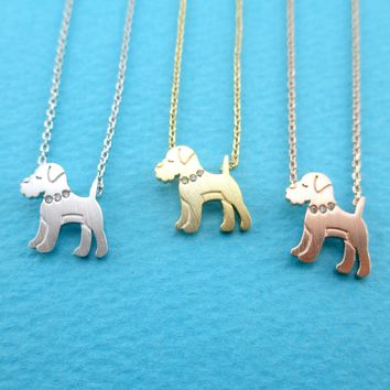 Schnauzer Puppy Dog Shaped Pendant Necklace in Silver Gold or Rose Gold