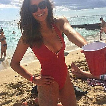 LMFON HOT RED ONE PIECE DEEP V ZIPPER BIKINI SWIMWEAR BATH SUIT