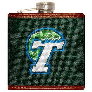 Tulane Needlepoint Flask in Green by Smathers & Branson