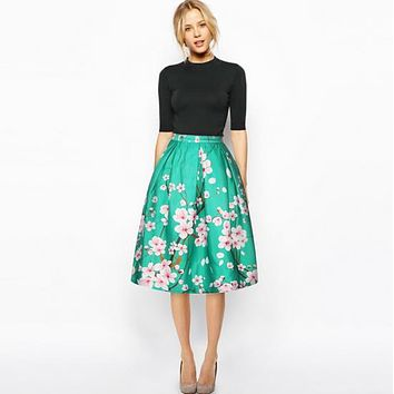 Women Summer Vintage Retro Satin Floral Pleated Skirts Style High Waist A-Line tutu Midi Skirt
