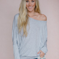 Solid Dolman Top - Gray