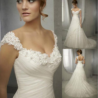 Deep V-Neck 3D Appliques  Chiffon Wedding Dresses Cap Sleeves Zipper Back Ruffles Bridal Gown Beaded A-Line Sweep Train