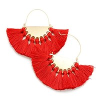 Over-Sized Red Tassel Hoops